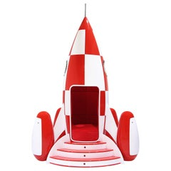 Rocky Rocket Chair in Red Velvet with Glossy Red and White Exterior
