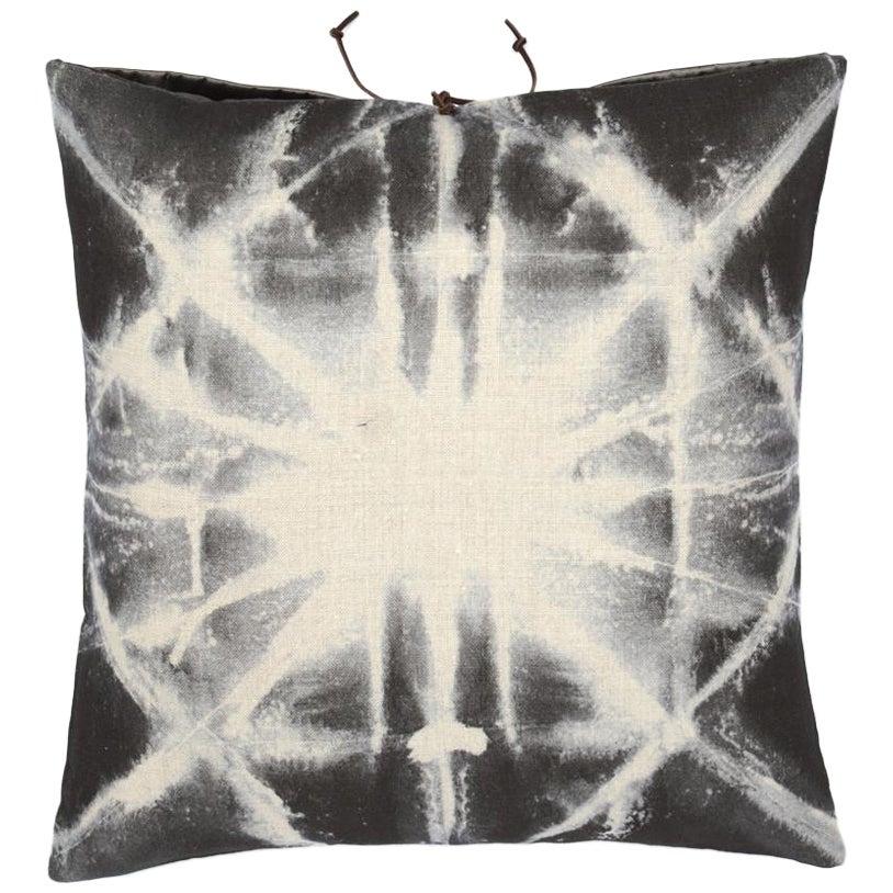 Printed Linen Throw Pillow Starburst Gray