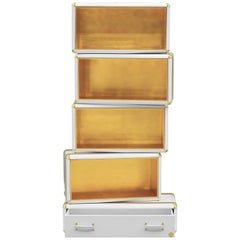 Fantasy Air Bookcase Limited Edition in Wood and Gold Leaf Finish
