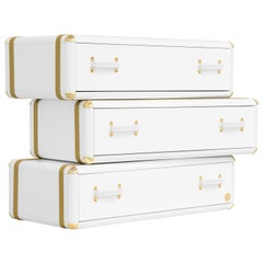 Fantasy Air Three-Drawers Chest in White Wood with Gold Details