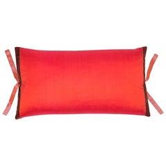 Silk Dupioni Throw Pillow Persimmon
