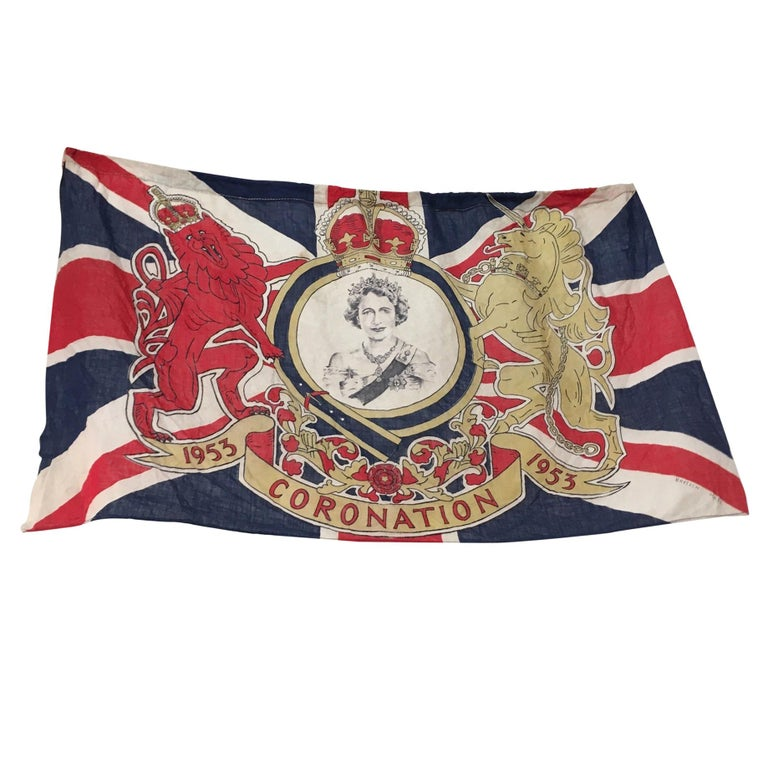 1953 Royal Coronation Flag Bunting 13.5 Metres For Sale