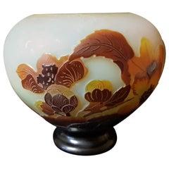 Emile Gallé France Art Nouveau Cameo Glass Floral Decoration Vase Cup, 1900s
