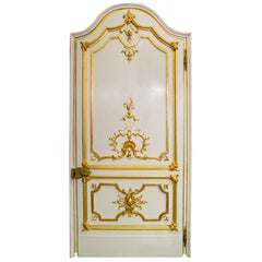 19th Century Italian White Lacquer and Giltwood Door with Gilt Bronze Handles