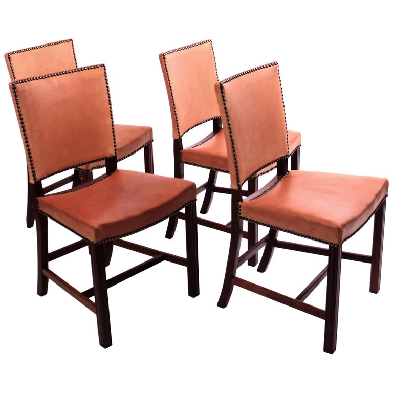 """Four Kaare Klint """"Red Chairs"""" / """"Barcelona Chairs"""", Mahogany and Leather For Sale"""