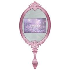 Magical Mirror in Pink with Wood Frame and Glass TV