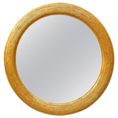 French Antique Giltwood Round Mirror, circa 1930