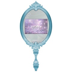Magical Mirror in Blue with Wood Frame and Glass TV