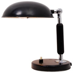 Chrome and Black Lacquer Table Lamp, 1930s