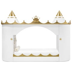 Kings & Queens Castle Bed in White Wood with Gold Details