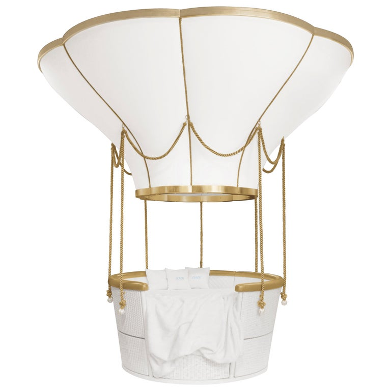 Fantasy Air Balloon Bed in White Wood with Side Drawers and Gold Details For Sale