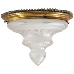 French Art Nouveau Brass Cut Blown Glass Flush Mount Ceiling Light, 1900s