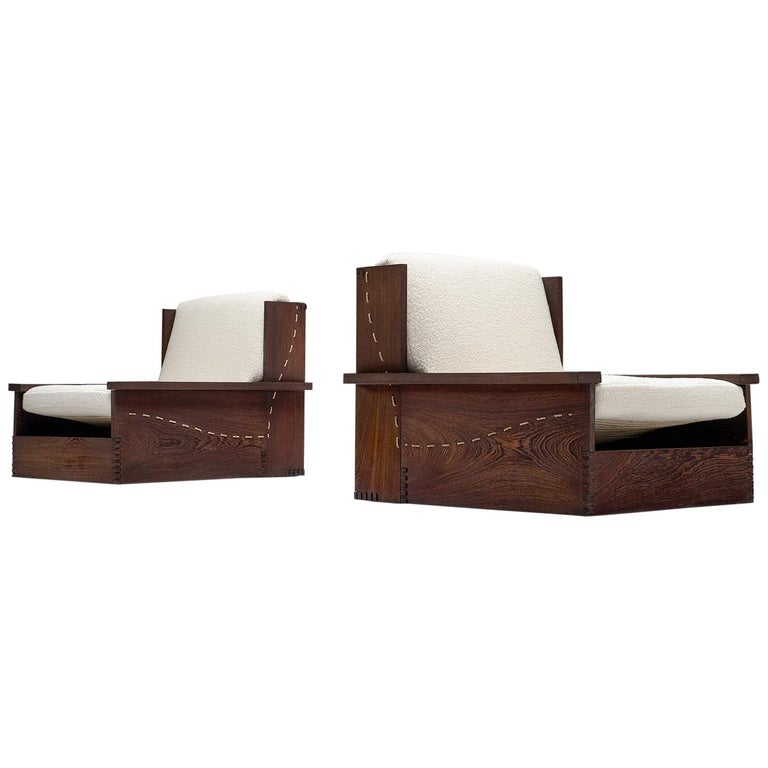 Danish Wenge Pair of Lounge Chairs in Woolen Pierre Frey For Sale