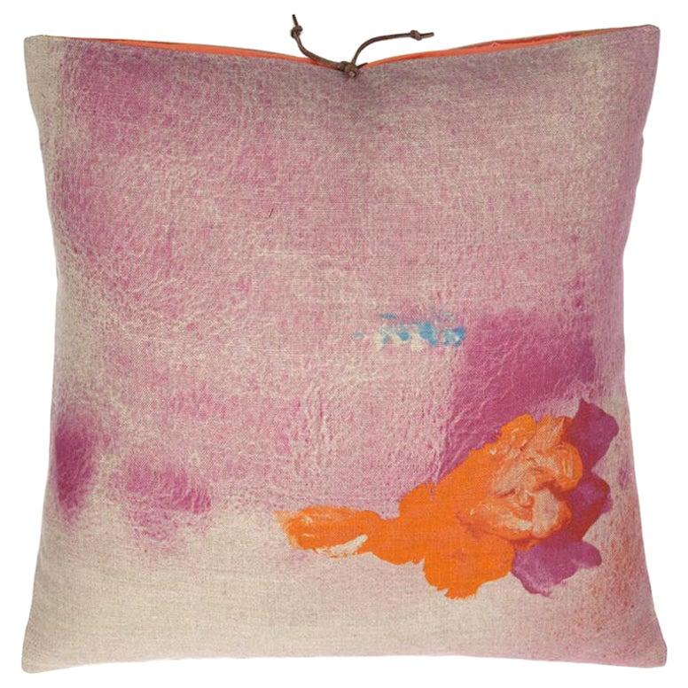 Printed Linen Throw Pillow Pigment Rose