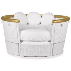 Fantasy Air Balloon Sofa in White Wood w/ Side Drawers & Gold Rim