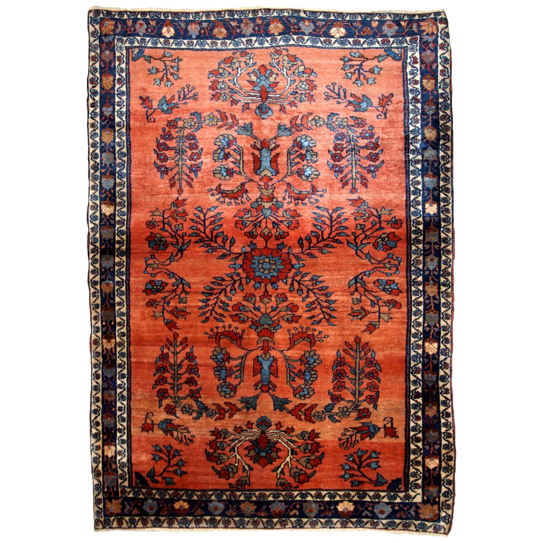 Handmade Antique Sarouk Style Rug, 1900s, 1B694
