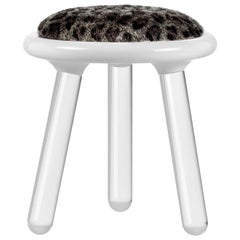 Illusion Leopard Stool in Clear Acrylic w/ Fur Seat