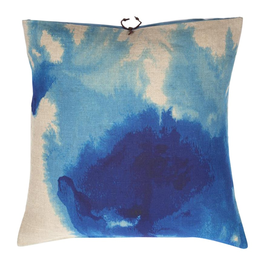 Printed Linen Throw Pillow Wash Blue