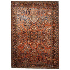 Handmade Antique Sarouk Style Rug, 1920s, 1B695