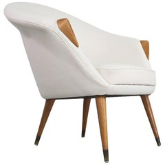 Danish Modern Lounge Chair in Elm and New Off-White Wool Fabric