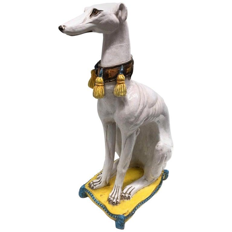 Lebensgroße italienisches Windspiel Majolika Hund Statue Figur Vintage 1960er Jahre 1