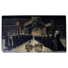 Rare Mid-17th Century Oil on Panel, in Memory of a Patrician Family