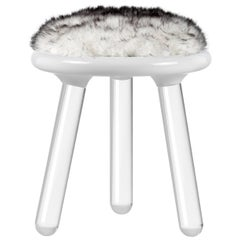 Illusion White Bear Stool in Clear Acrylic W/ Fur Seat