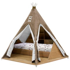 Teepee Room in Mocha Faux Leather with Wood Base