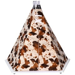 Circu Teepee Play Playground in Textured Faux Cow Print with Wood Base