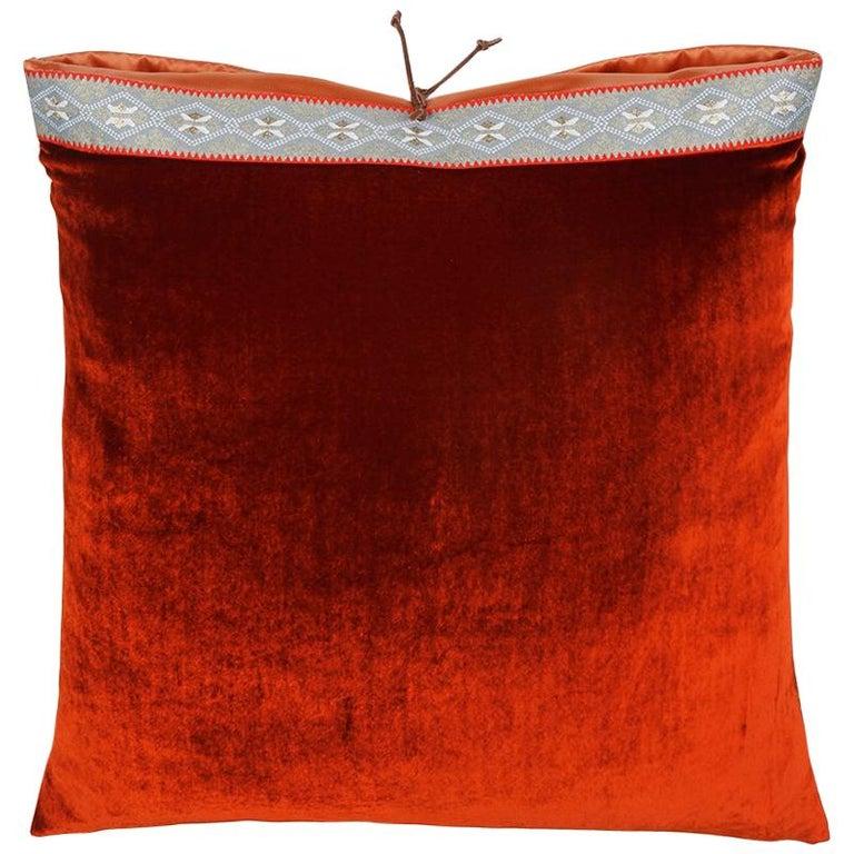 Silk Velvet Throw Pillow Rust For Sale