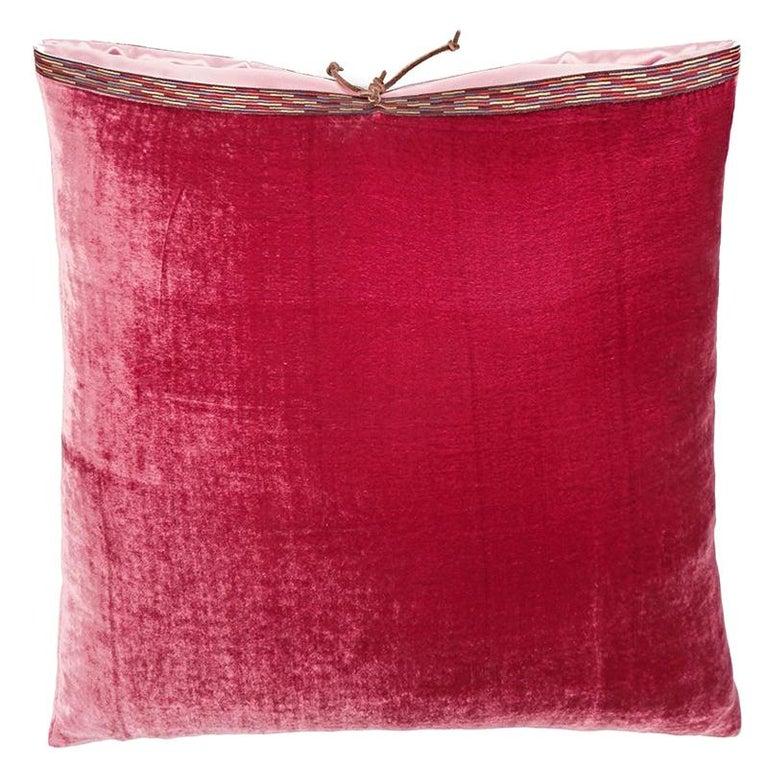 Silk Velvet Throw Pillow Raspberry For Sale