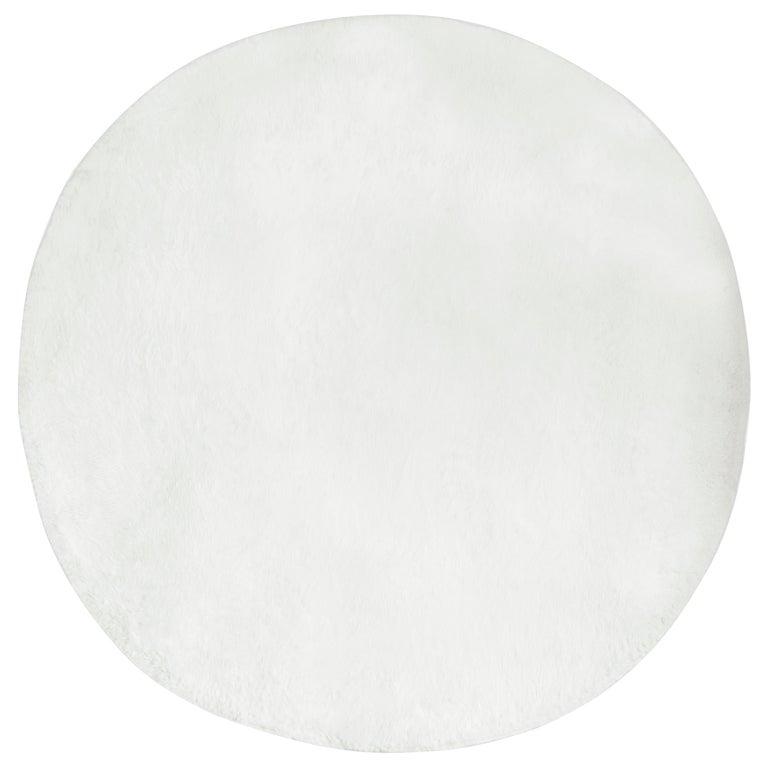 Circu Cloud Printed Rug in White Faux Sheep Wool For Sale