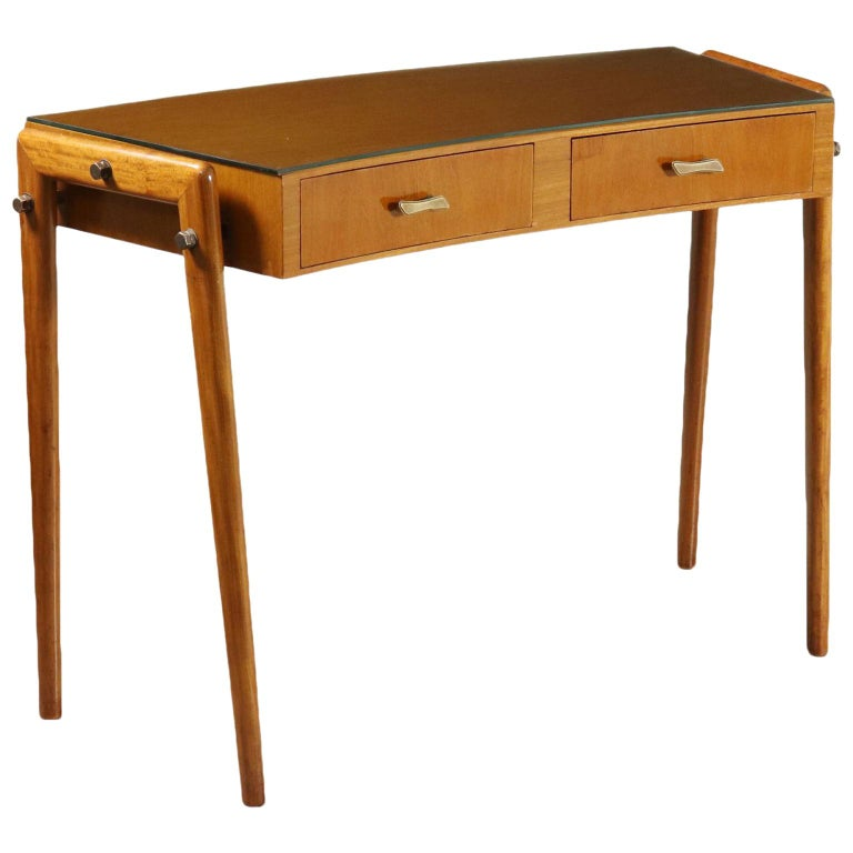 Desk with Drawers Stained Beech Mahogany Veneer Glass Vintage 1950s For Sale