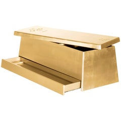 Toy Box in Wood with Gold Finish