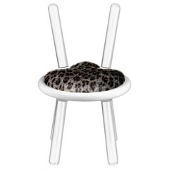Illusion Leopard Chair in Clear Acrylic with Fur Seat