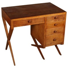Writing Desk Solid Oak Veneered Wood Vintage Italy 1950s
