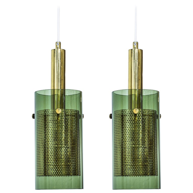 Rare Pair of Pendant Lamps by Hans Agne Jakobsson, Sweden, 1960s For Sale