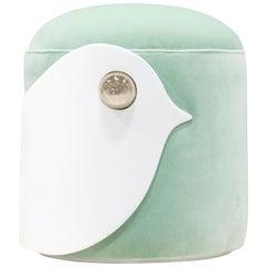Bird Stool in White Wood and Mint Green Velvet