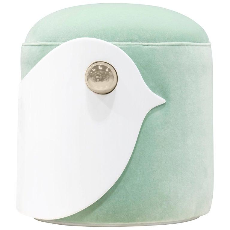 Amazing Bird Stool In White Wood And Mint Green Velvet Machost Co Dining Chair Design Ideas Machostcouk