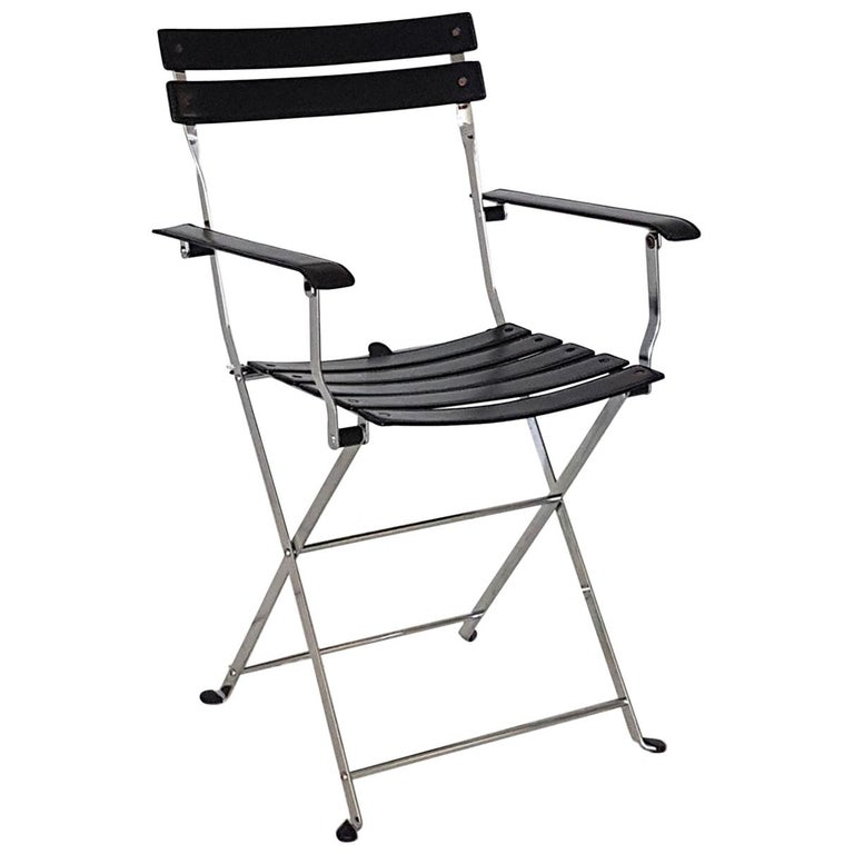 Marvelous Marco Zanuso Italian Zanotta Black Leather Folding Chair With Steel Structure Pabps2019 Chair Design Images Pabps2019Com