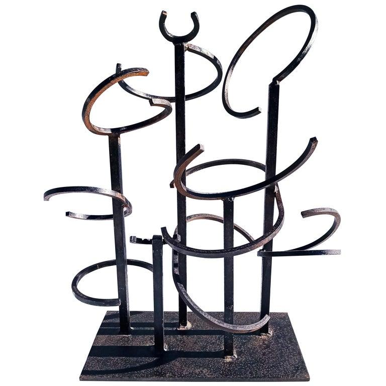 Eduardo Chillida Style Iron Sculpture, 1960s For Sale
