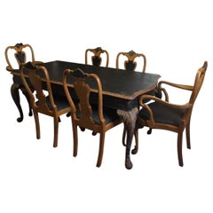 19th Century French Black Painted Dining Room Table with Six Walnut Seats, 1890s
