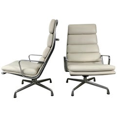 Leather and Aluminum Soft Pad Lounge Chairs, Charles Eames Herman Miller