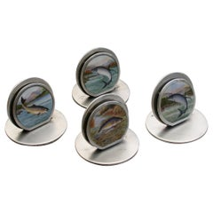 Set of Four Edwardian Silver and Enamel Fish Menu Holders by S Mordan, 1905-1908