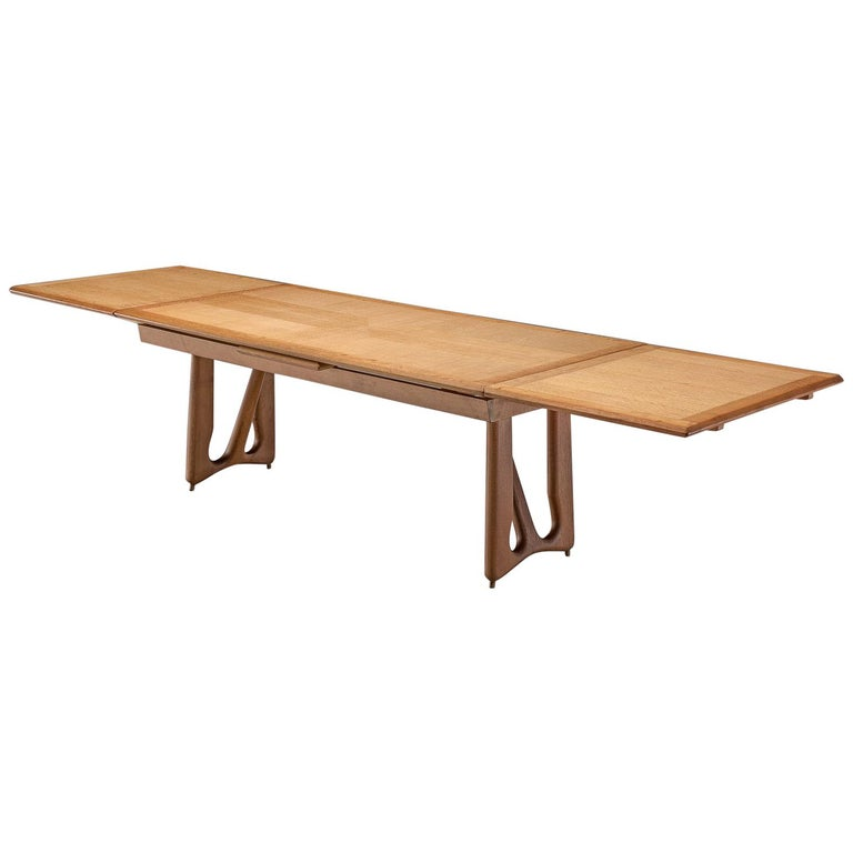 Guillerme & Chambron Extendable Dining Table in Oak For Sale