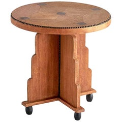 Art Deco Amsterdam School Side Table in Oak and Macassar Ebony, Early 1930s