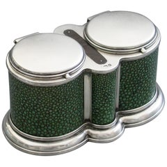 George V Shagreen Mounted Silver Double Table Vesta Case By A W Hardiman 1923
