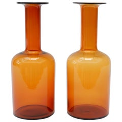 Set of 2 Orange Vases by Otto Brauer for Holmegaard, 1960s