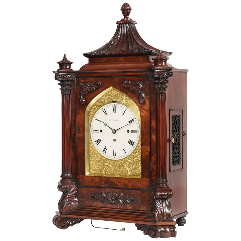 Late Georgian Mahogany Musical Table Clock For Sale