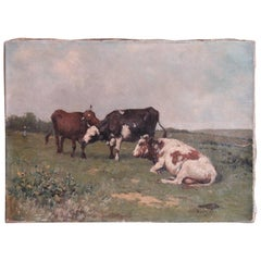19th Century Walter Biddlecombe Cows Painting